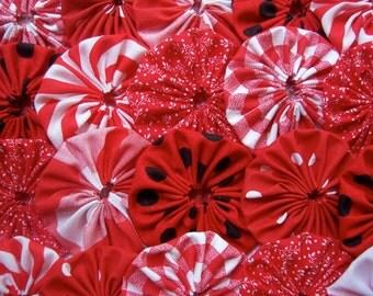 40 RED Fabric 2 Inch YO YO Quilting Barrette Hair Clip Embellishment Trim Applique