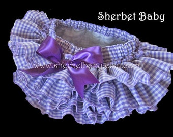 Ruffle Diaper Cover Bloomer Panty Sassy Pants Purple Gingham
