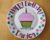 Happy Birthday Plate. Hand Painted Personalized Gifts . Cupcake with Sprinkles . Made to Order
