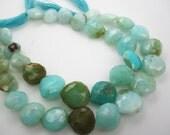Peruvian Blue Opal Briolette Beads, Faceted Heart Briolettes, Blue Opal Beads, 10mm to 13mm, Loveofjewelry, Brides Bridal, SKU 4019A