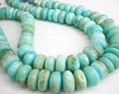 Blue Peruvian Opal Beads, Peruvian Opal Beads, Blue Opal Beads, Rondelles, 15 to 20mm, Blue Opal Rondelles, Wholesale Opal, SKU 4356A