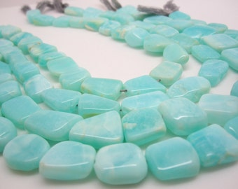 Blue Peruvian Opal Beads Oval, Luxe AAA, Smooth Nuggets, Peruvian Opal Beads, SKU 4436A