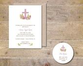 Baptism Invitiation Girl, Baptism Invitation Boy, Christening Invitation, Communion Invitation, Confirmation, Watercolor, Cross - Garden