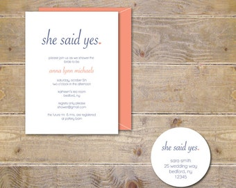 Bridal Shower Invitations . Bridal Shower Invites . He Popped The Question  - She Said Yes