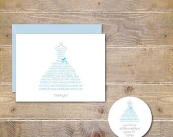 Bridal Shower Thank You Cards . Bridal Shower Thank You Notes . Thank You Cards Bridal Shower - Something Blue