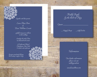 Printable Wedding Invitation, DIY Wedding Invitation, Invitation File, Wedding Invitation, Vintage Lace, Lace Invitations, PDF - Lace