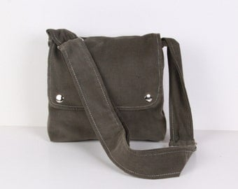 Messenger bag, Shoulder bag, cross-body, olive green with cream lining ,adjustable strap...MINI CITY...