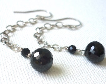 Black garnet earrings * melanite jewelry * evening jewelry