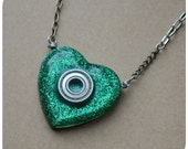 Roller Derby Bearing Necklace - hand cast heart shaped resin pendant