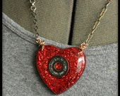 Roller Derby Bearing Necklace - Cast resin heart shaped pendant