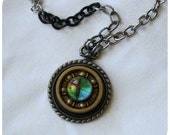 Roller Derby Bearing Necklace - gold bearing with rainbow eye