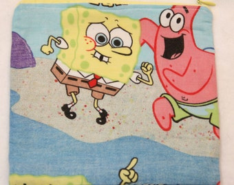 "Spongebob Squarepants Zipper Pouch 8"" x 7 1/2"""