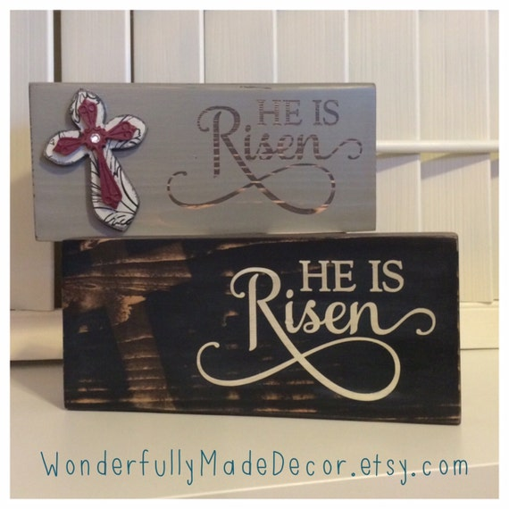 He is risen wood sign easter decor by wonderfullymadedecor for Is ready set decor legit