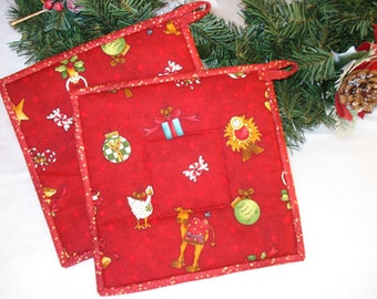 Red Christmas Pot Holders