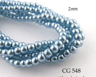 Tiny 2mm Czech Glass Pearls Sky Blue Round (CG 548)  50 pcs BlueEchoBeads