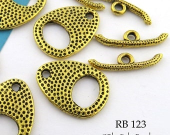 20mm Brass Toggle Clasp with Dots (RB 123) 4 sets BlueEchoBeads