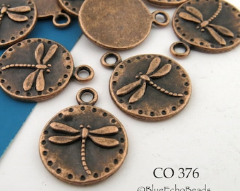 15mm Small Dragonfly Charm, Antiqued Copper, Coin Charm (CO 376) 8 pcs BlueEchoBeads
