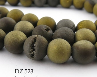 8mm Gold Sable Brown Druzy Agate Geode Beads Matte Gold Matte Brown (DZ 523) 22 pcs BlueEchoBeads