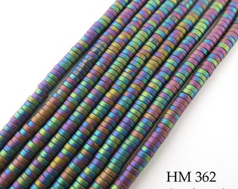 3mm Tiny Matte Rainbow Hematite Small Heishi Disk Bead 3mm x 1mm (HM 362) BlueEchoBeads