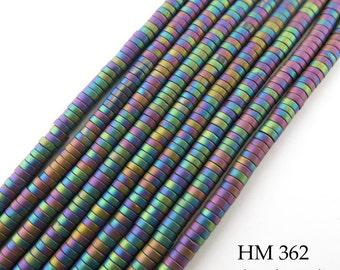 3mm Tiny Matte Rainbow Hematite Small Heishi Disk Bead 3mm x 1mm (HM 362) BlueEchoBeads