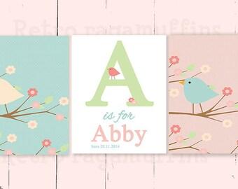 Pastel Birds Nursery Art  Print Various Sizes  Personalized Girls Room Decor