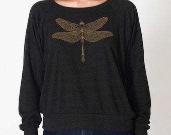 Dragonfly Women's Slouchy Sweatshirt, Raglan Pullover, Steampunk, Jeweled Dragonfly, Art T-shirt, Cool t-shirt