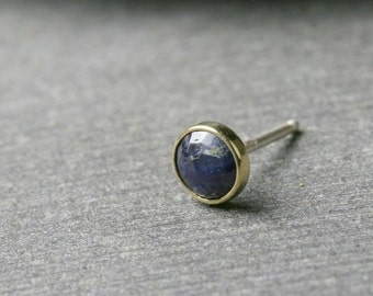 Single bezel set untreated rose cut blue sapphire earring in 18k yellow gold with sterling post and back