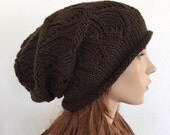 Hand knit wool chunky hat brown hat - ready to ship