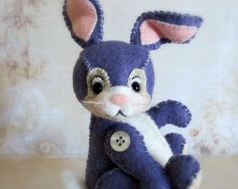 "PDF Digital e-Pattern to Make Sweet 4.75"" Wool Felt Bunny Rabbit ""Thumpee"" by Booh Bears, Janice Woodard"