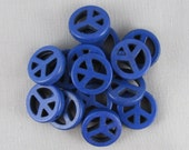 Dark Blue Magnesite 15mm Peace Sign Beads - 14 pieces - F8