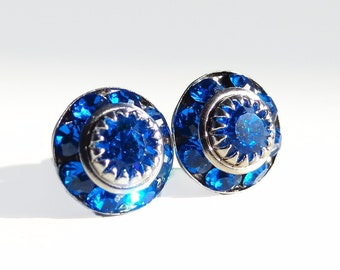 Royal blue post earrings - created with Vintage Swarovski® crystals