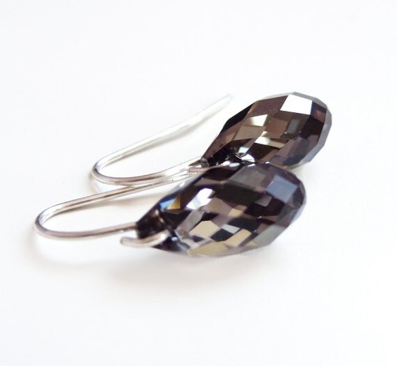 Black diamond crystal earrings - Swarovski crystal - crystal night earrings - black crystal earrings - teardrop earrings