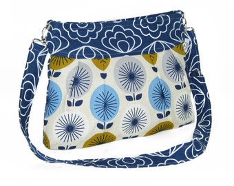 Organic Handmade Sophisticate Cross Body Purse - Navy Blossom with Retro Flowers - Free Shipping