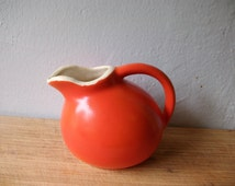Vintage Small Orange Red Ball Pitcher / Cameron Clay / Sevilla Pottery