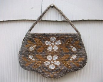 Vintage Antique Seed Beaded Czech Small Purse