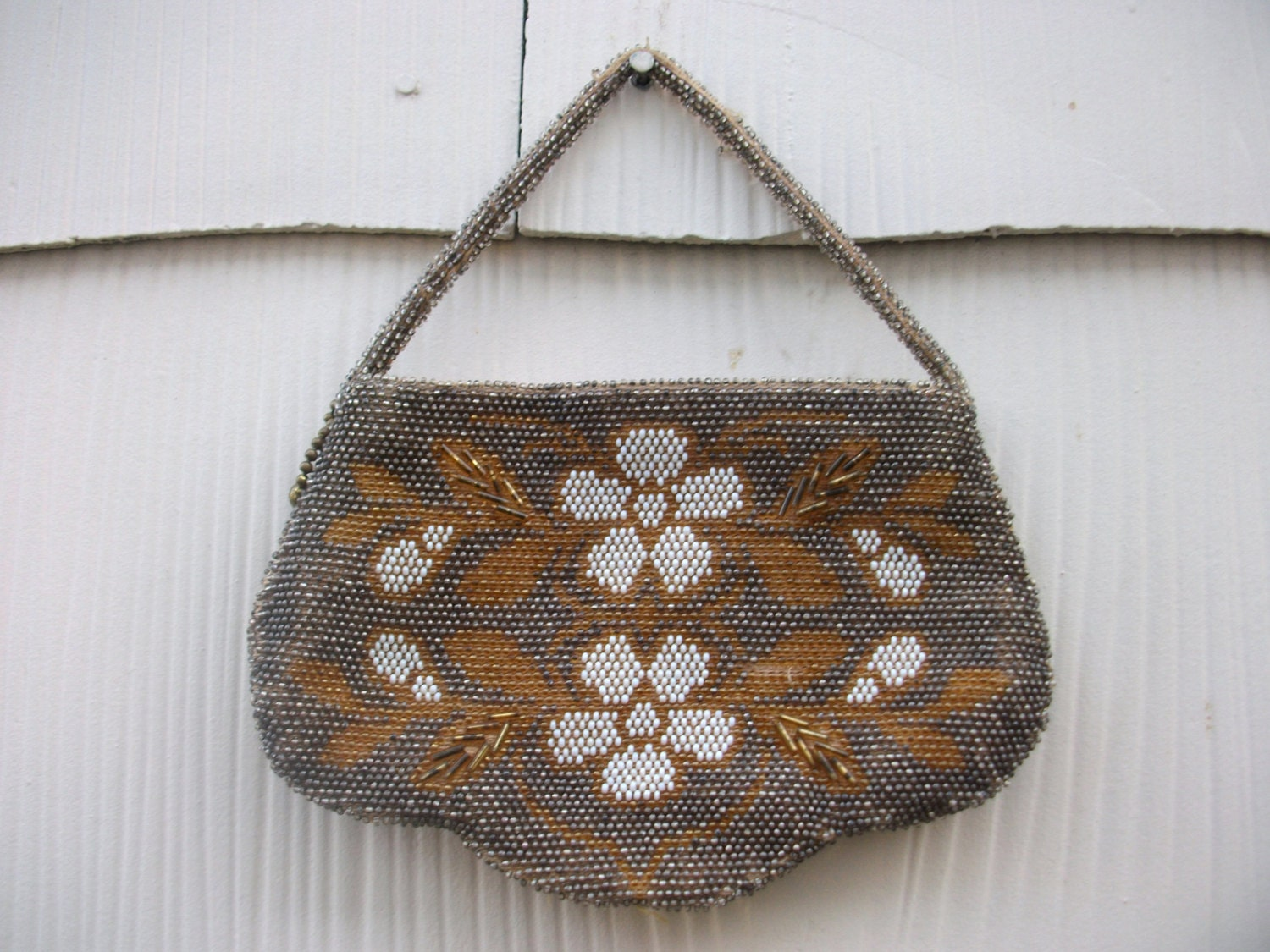 vintage antique seed beaded small purse