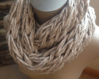 Arm Knit Infinity Scarf-Oatmeal