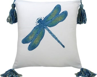 Dragonfly Blue Small Size Decorative Pillow with Tassels 13 x 13 inches