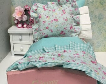 Vintage Ginny Doll Bed and Shabby Chic Aqua Full Bedding Set