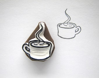 Small steaming mug cup cocoa tea coffee cider rubber stamp