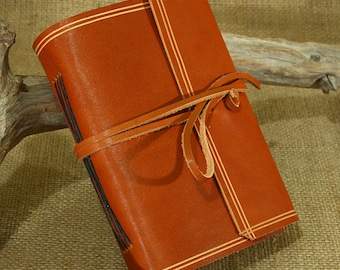 A6, Standard, Rugged Leather Journal, Leather Wraparound Journal, Travel Journal, Tan Leather, Wrap Notebook, Blank Book, Personalised.