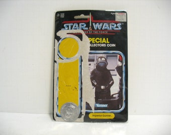 Vintage Star Wars Imperial Gunner Card & Coin Only (no Figure) 1984 Power of the Force POTF Space Toy