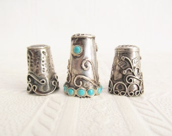 3 Sterling Silver Sewing Thimble Thimbles Mexican Ornate Filigree Turquoise