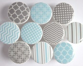 Light Blue and Gray Knobs, Polka Dots, Chevron Patterns, Stripes - Wood Knobs- 1 1/2 Inches - Made-to-Order