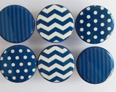 Navy Pattern Knobs, Navy Blue Striped Knob, Blue Drawer Knobs, Polka Dots, navy Chevron Knobs- Wood Knobs- 1 1/2 Inches -Made-to-Order
