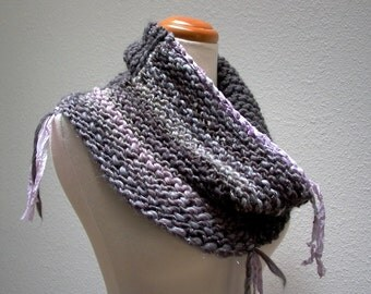 smoke and mirrors. bohemian knit cowl . chunky handknit art yarn cowl neck warmer . merino wool recycled sari silk . gray  silver lilac ice