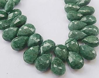 Emerald Gemstone. Faceted Pear Briolettes. 13mm to 15mm. Semi Precious Gemstone. Packet of 2 Brios (55em)