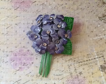 Vintage 1950s Lavender Rhinestone and Enamel Flower Blossom Brooch cottage or shabby chic jewelry