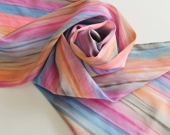 Hand Painted Silk Scarf - Handpainted Scarves Rose Pink Coral Orange Peach Slate Denim Blue Gray Grey Stripe Watercolor