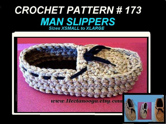 Men's moccasin slippers-- CROCHET PATTERN,   Xsmall to Xlarge, 10 inch to 13 inch foot, num. 173 instant digital download